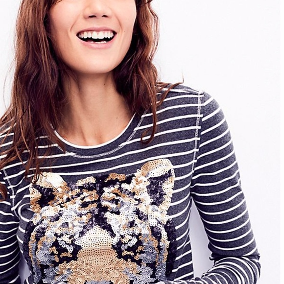 Free People Tops - Free People Striped Sequin Tiger Tee